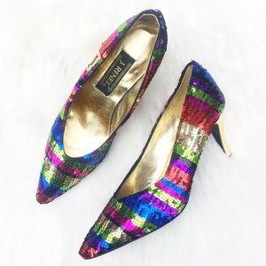 J RENEE Rainbow Sequin Closed Toe Heel
